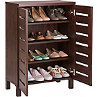 more details on HOME Slatted 2 Door Shoe Storage Cabinet - Mahogany Effect.