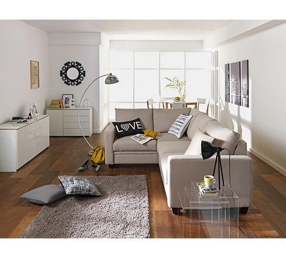 Buy Hygena Seattle Regular Right Hand Corner Sofa Bed Natural At Your Online