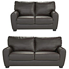 more details on HOME Stefano Large and Regular Leather Sofa - Chocolate.