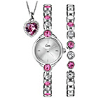 more details on Limit Ladies' Pink Heart Triple Stone Set Watch.