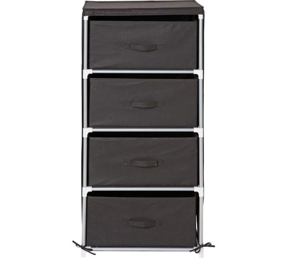 Buy home metal and polycotton 4 drawer storage unit for Bedroom units argos