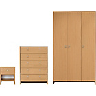 more details on Seville 3 Piece 3 Door Wardrobe Package - Beech Effect.