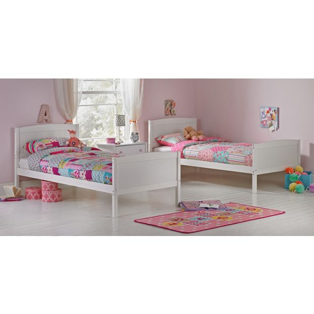 Buy Detachable Single Bunk Bed Frame With Storage White