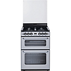 more details on New World 600TSIDOM Double Gas Cooker - Silver/Ins/Del/Rec.