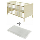 more details on Baby Elegance Travis Cot Bed with Mattress - Cream.
