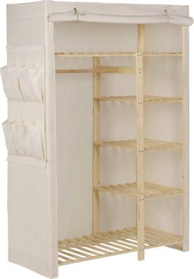 Buy Home Polycotton And Pine Double Wardrobe Cream At