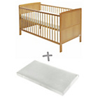 more details on Baby Elegance Travis Cot Bed with Mattress - Antique Pine.