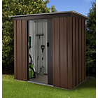 Tall Woodgrain Pent Metal Shed - 6ft x 4ft