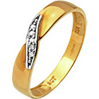 more details on 9ct Gold Diamond Accent Twist Wedding Ring - 3mm.