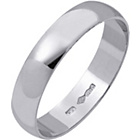 more details on Platinum D-Shape Wedding Ring - 4mm.