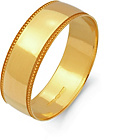 more details on 9ct Gold Plain Mill Grain Wedding Band Ring - 6mm.