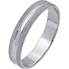 more details on 9ct White Gold Frosted Edge Ring - 4mm.