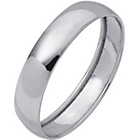 more details on 9ct White Gold Rolled Edge D-Shape Wedding Ring - 4mm.