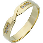 more details on 9ct Gold Diamond Set 4mm Twist Wedding Ring.