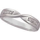 more details on 9ct White Gold Diamond Set Twist Wedding Ring - 4mm.
