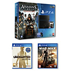 more details on PS4 500GB, Assassin's Creed, Unchartered, Mad Max Bundle.