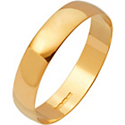 more details on 9ct Gold Plain D-Shape Personalised Wedding Ring - 4mm.