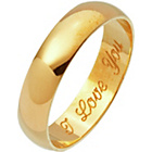 more details on 9ct Gold D-Shape Engraved Wedding Ring with High Dome - 4mm.