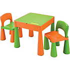 more details on Building Block PlayTop Table & Chairs Set- Green/Orange.