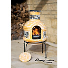 more details on La Hacienda Two Piece Clay Chiminea with Cooking Grill.