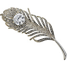 more details on Silver Coloured Crystal Feather Brooch.