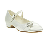 more details on Barratts Girls' Cream Satin Shoes with Heart Trim.