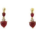 more details on 9ct Gold Created Ruby and Diamond Accent Heart Drop Earrings