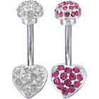more details on Surgical Steel Rose and Clear Heart Belly Bar - Set of 2.