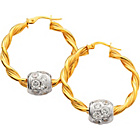 more details on 9ct Gold Twisted Hoop Silver CZ Glitterball Creole Earrings.