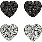 more details on Sterling Silver Black & White Crystal Heart Earrings - 2.