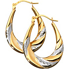 more details on 9ct 2 Coloured Gold Diamond Cut Swirl Creole Earrings.