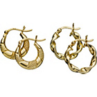 more details on 9ct Gold Plated Silver Small Round Creole Earrings-Set of 2