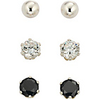 more details on Sterling Silver Ball and CZ Stud Earrings - Set of 3.