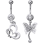 more details on Stainless Steel Butterfly and Heart Belly Bars - Set of 2.