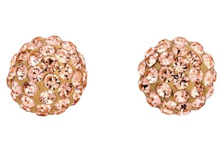Cut out image of a pair of 9ct Gold Crystal Champagne Glitter Ball Stud Earrings.