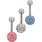 more details on Stainless Steel Glitzy Belly Bars - Set of 3.