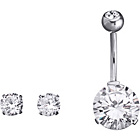 more details on Stainless Steel Cubic Zirconia Belly Bar and Earrings Set.