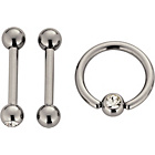 more details on Stainless Steel Body Ring and Belly Bars - Set of 3.