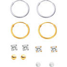more details on 9ct Gold Plated and Silver Stud and Hoop Earrings - Set of 6