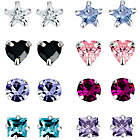 more details on Sterling Silver and Crystal Stud Earrings - Set of 8.