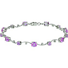 more details on 9ct White Gold Pink Sapphire and 0.10ct Diamond Bracelet.