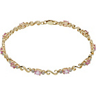 more details on 9ct Gold Pink Sapphire and 0.10ct Diamond Bracelet.