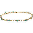 more details on 9ct Gold Emerald and 0.10ct Diamond Bracelet.
