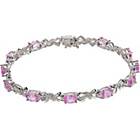 more details on 9ct White Gold Created Pink Sapphire and Diamond Bracelet.