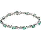 more details on 9ct White Gold Emerald and Diamond Bracelet.