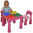 more details on Building Block PLay Top Table & Chairs Set - Pink.
