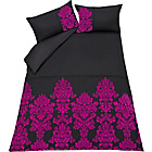 more details on Inspire Damask Black and Pink Flock Bedding Set - Double.