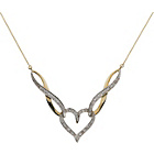 more details on 9ct Gold 0.10ct Diamond Heart Twist Necklet.