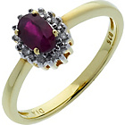 more details on 18ct Gold Plated Sterling Silver Oval Ruby and Diamond Ring.