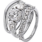 more details on Platinum Plated Silver 2.75ct Look Cubic Zirconia Bridal Set